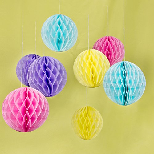 Tissue Paper Honeycomb Balls Hanging Pom-Pom Ball Party Wedding Birthday Nursery Decoration Easy Joy (8 Pieces, 8 Inches, Yellow, Sky Blue, Pink, (Easy Centerpieces)