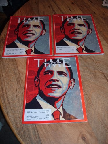 Lot of Three (3) Barack Obama Person of the Year Time magazine issues-December 29, 2008-January 5, 2009 double issue.