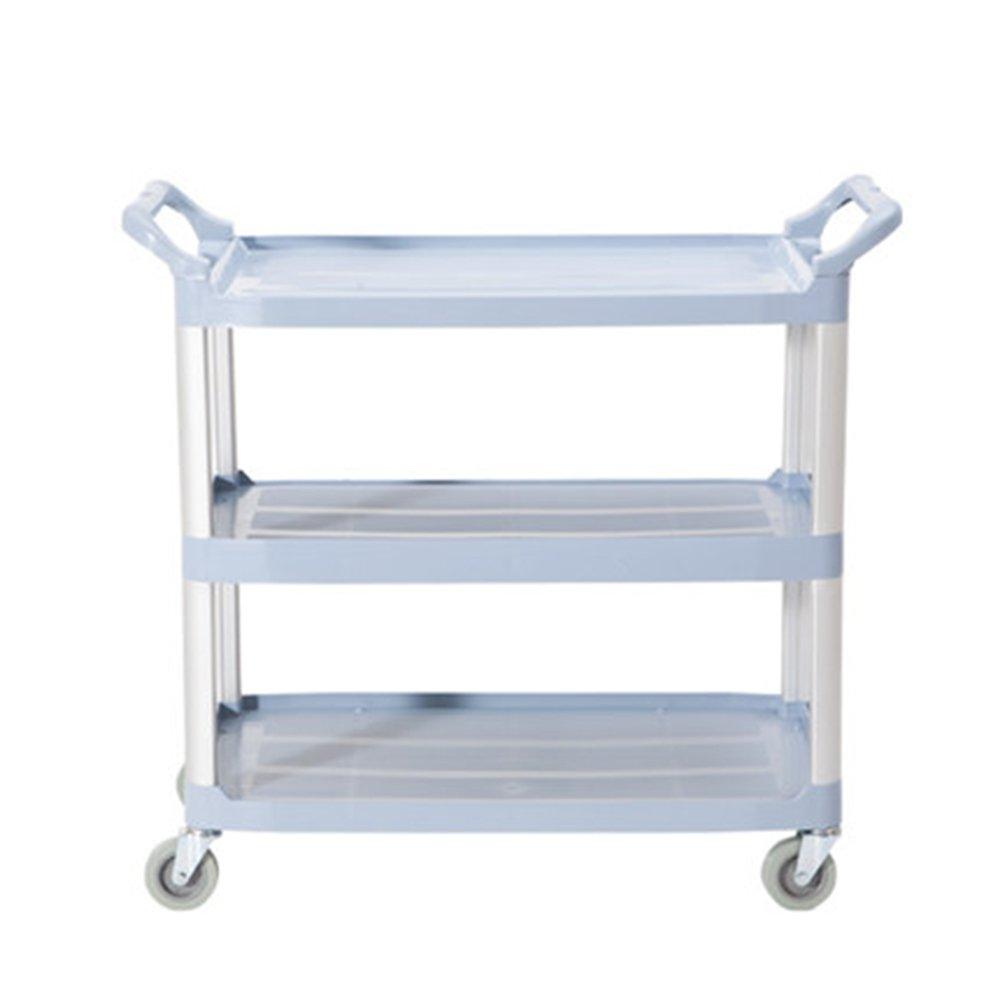 Vogvigo Three Shelf Heavy Duty Plastic Utility Service Commercial Cart Bath Cart with Trolly Wheels for Kitchen Hotel Bar Restaurant Area Utility Serving 84.5*43*95cm Max load: 75kg/165.5 lbs (Grey)