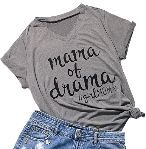 FAYALEQ Mama of Drama Shirt V-Neck Casual Short Sleeve Tops Funny Mama T Shirt for Women Size XL (Gray) -