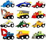 Toys : Pull Back Vehicles - Assorted Construction Vehicles and Racer Cars Toy, Die Cast Vehicle Truck Mini Car Toy Play Set For Kids Birthday Game, Party Favors, Classrooms Rewards (12 Pcs )