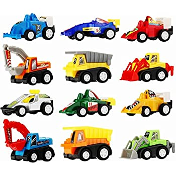 pull back car 12 pack assorted mini plastic vehicle set funcorn toys pull back. Black Bedroom Furniture Sets. Home Design Ideas