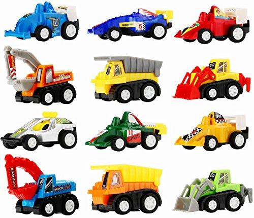 Toy Cars for Easter Egg Fillers - Pull Back Truck and Car Party Favors for Kids, Construction Birthday Party Supplies, Mini Toy Cars for toddlers Boys Girls ( 12 Pcs )