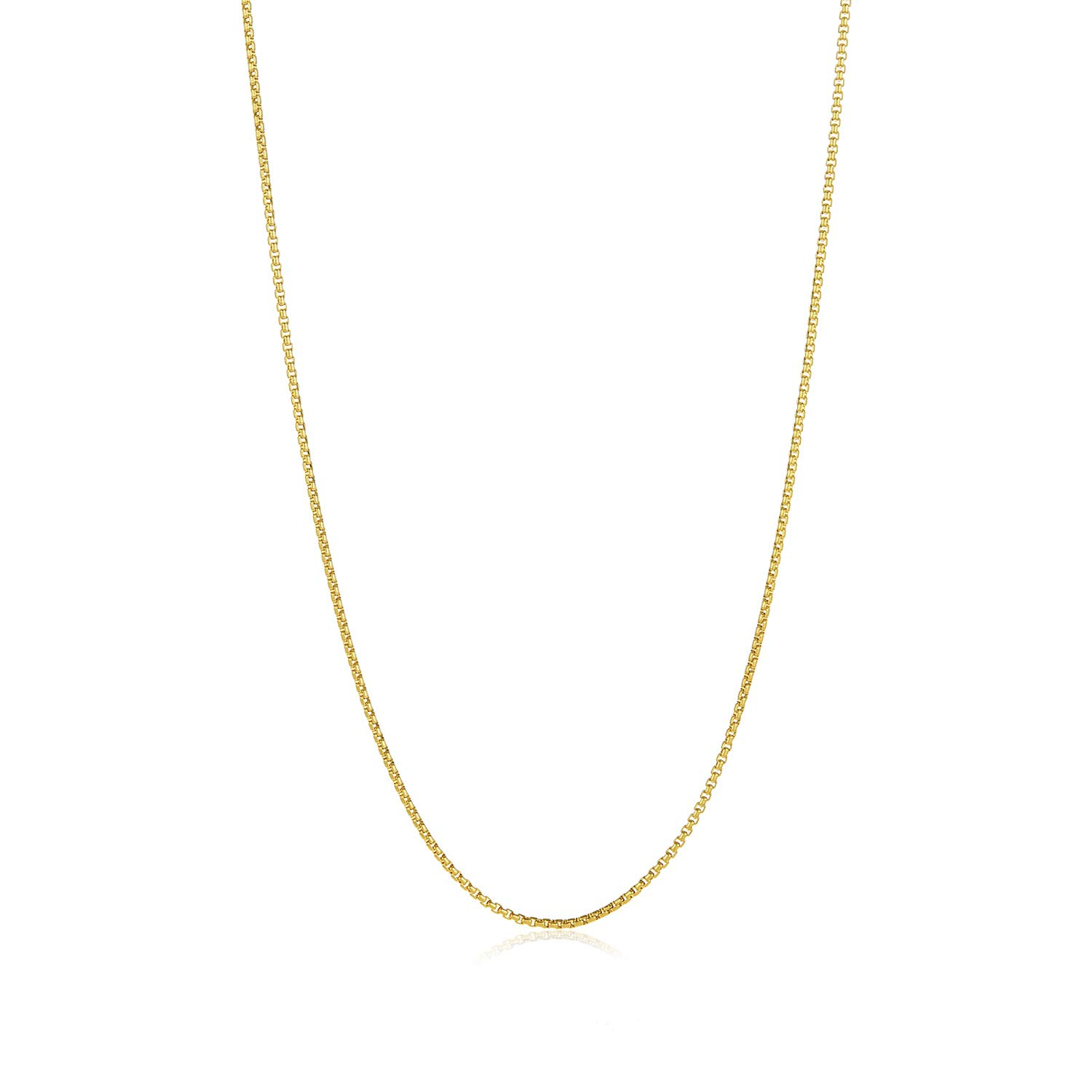 The Bling Factory Small 2mm 14k Gold Plated Stainless Steel Box Chain w//Lobster Claw Clasp 26 inches