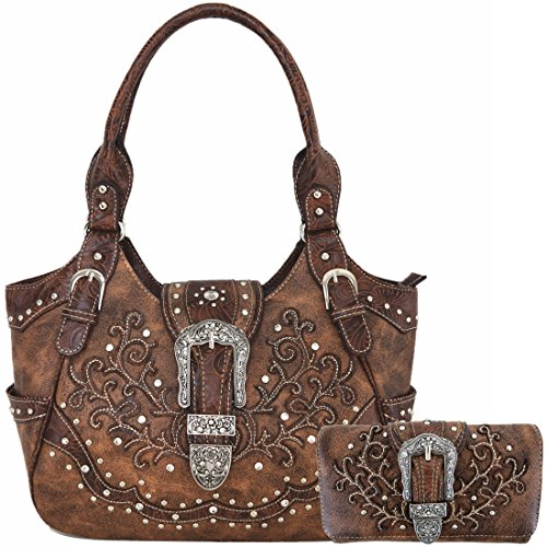 Western Style Concealed Carry Purse Buckle Country Large Handbags Messenger Shoulder Bag Wallet Set Brown (The Best Pocket Pistol)