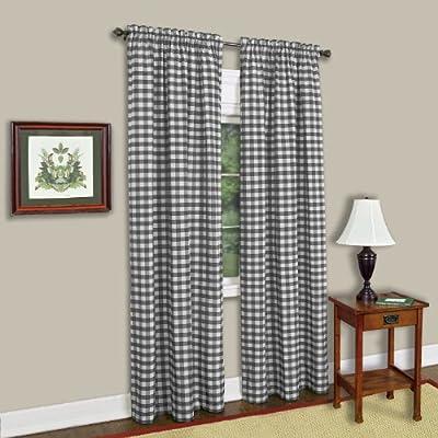 "Achim Home Furnishings Buffalo Check Window Curtain Panel (Single Curtain), 42"" x 84"", Black & White - Rod pockets, easy care, 60% Polyester-40% Cotton, fashionable, economically priced. Rod pockets. Easy care. - living-room-soft-furnishings, living-room, draperies-curtains-shades - 51ak3T5E9fL. SS400  -"