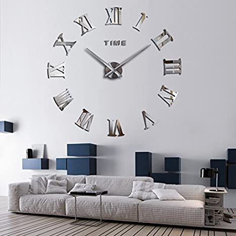 Blue FASHION in THE CITY Mirror Surface 3D DIY Wall Clocks Modern Design Room Decorative Wall Watches