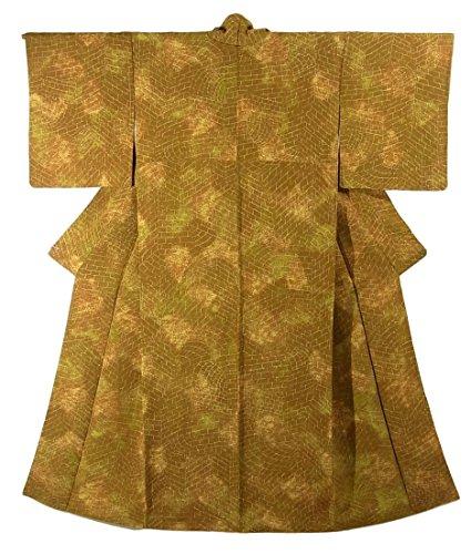 オークション適切な着服リサイクル 着物 小紋 小口積み文様 正絹 袷 裄66.5cm 身丈158cm