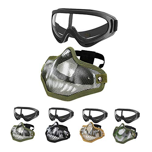 MGFLASHFORCE Airsoft Mask and Goggles Set, Steel Mesh Half Face Tactical Mask and UV400 Goggles for Halloween Cosplay Xmas Party