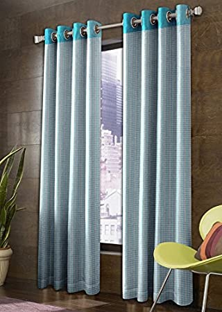 Super India Milano 2 Piece Polyester Long Door Curtain Set - 9ft, Aqua