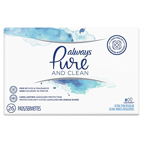 Always Pure & Clean, Ultra Thin Feminine Pads for Women, Regular Absorbency, with Wings, Unscented, 26 Count- Pack of 3 (78 Count Total)