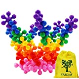 EMIDO Building Blocks Kids Educational Toys STEM Toys Building Discs Sets Interlocking Solid Plastic for Preschool Kids Boys and Girls, Safe Material for Kids - 120 pieces with Storage Bag