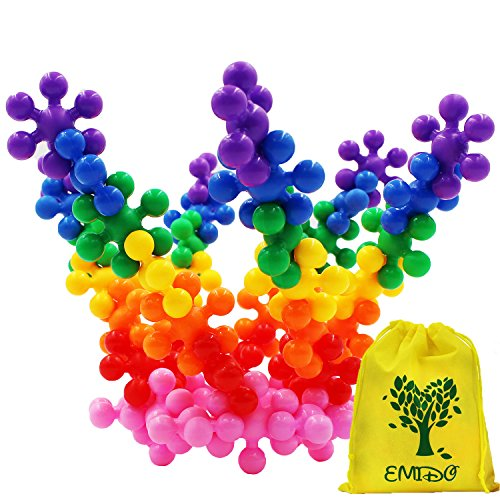 (EMIDO Building Blocks Kids Educational Toys STEM Toys Building Discs Sets Interlocking Solid Plastic for Preschool Kids Boys and Girls, Safe Material for Kids - 120 pieces with Storage Bag)