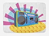 Ambesonne 70s Party Bath Mat, Retro Boom Box in Pop Art Manner Dance Music Colorful Composition Artwork Print, Plush Bathroom Decor Mat with Non Slip Backing, 29.5 W X 17.5 W Inches, Multicolor