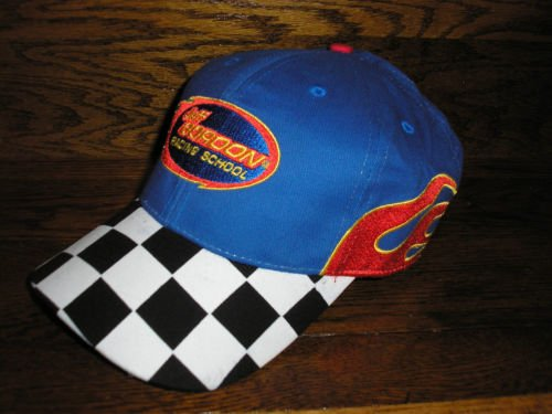 Jeff Gordon #24 Red & Blue With Checkered Flag & Flames Accents Jeff Gordon Racing School Hat Cap One Size Fits Most OSFM Adjustable Velcro Strap Checkered Flag Nascar Racing Cap