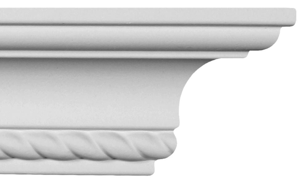 Crown Molding - Plastic Crown Moulding Manufactured with a Dense Architectural Polyurethane Compound. CM-1085 - 6 Moldings.