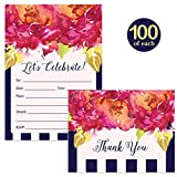 All Occasion Invitations ( 100 ) & Folded Thank You Cards ( 100 ) Set with Envelopes Colorful Pink & Navy Stripe Graduation Birthday Wedding Fill-In Guest Invites & Thank You Notes Best Value Pair