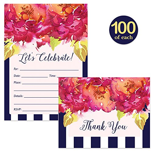 All Occasion Invitations ( 100 ) & Folded Thank You Cards ( 100 ) Set with Envelopes Colorful Pink & Navy Stripe Graduation Birthday Wedding Fill-In Guest Invites & Thank You Notes Best Value Pair by Digibuddha