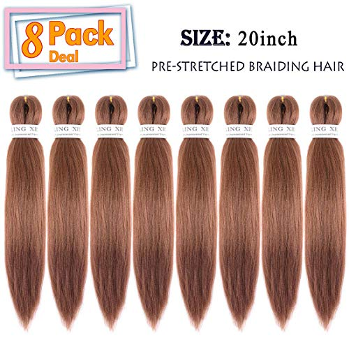 Ling Xiu 8 Packs Pre Stretched Synthetic Braiding Hair Low Temperature Fiber Feed in Hair for Braids(30#) (Best Place To Get Ombre Hair)