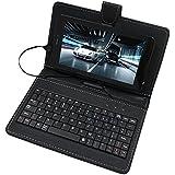 AXYO 7インチ タブレット キーボード ケース マイクロUSB 端子 スタンド機能 サイズ調整でき SSA 7インチタブレットPC/日本電気 NEC/ASUS/Huawei/東芝 TOSHIBA/docomo/ギーク/ΛzICHI/iRULU 等 7インチ 8インチ タブレットPC 対応 Android Windows 対応 microUSB端子キーボード 汎用型 (7インチ, ブラック)