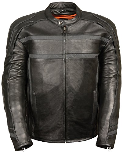 Milwaukee Men's Reflective Band and Piping Scooter Leather Jacket (Black, - Domain The Austin Stores