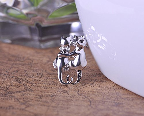 1pc Vintage Women Couple Cat Brooches Harajuku Badge Brooch Anti Silver Plated Cute Animal Scarf Pin Cat Plated Brooch