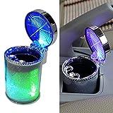 Grebest Ashtray Interior Decoration Storage Container Car Blue LED Light Indicator Ashtray Smokeless Cylinder Bin Holder