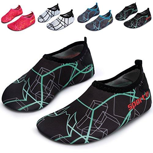 L-RUN Children's Aqua Socks Water Shoes Outdoor Sports Shoes Green M US 2.5-3.5=EU 34-35