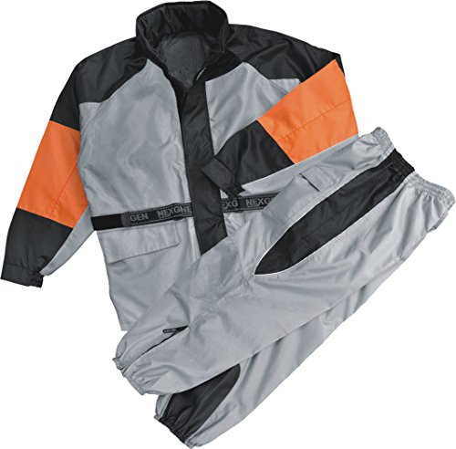 Mens Rain Suit Water Resitant - Reflective Piping, Orange / Silver Size L ()