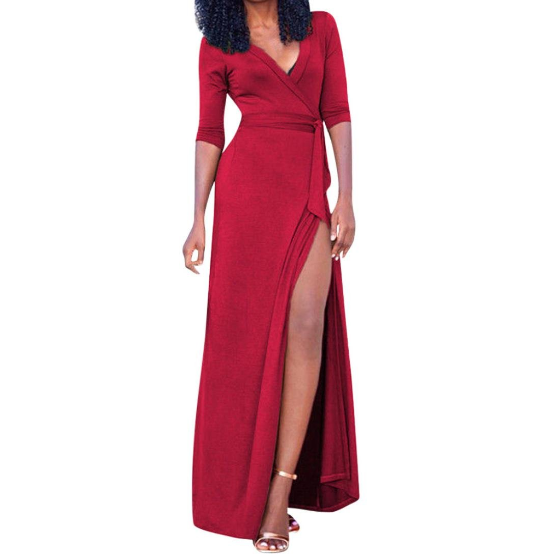 2018 New Deep V-Neck Long Sleeve Belt Bandages High Split Maxi Long Dress,Sexy and Elegant Party Dress (XXL, Red)