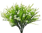 Artificial Flowers for Decoration, 4Pcs Faux Lifelike Plastic Camuning Shrubs Plants Simulation Greenery Bushes Indoor Outside Home Garden Office Wedding Decor, White