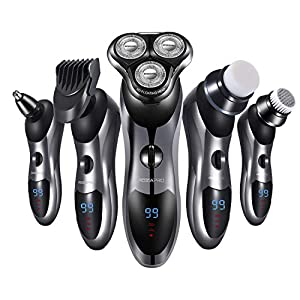 Electric Shaver Razor for Men 5 in 1 Rotary Shavers Beard Trimmer Nose Hair Trimmer Wet and Dry Electric Shavers Men.
