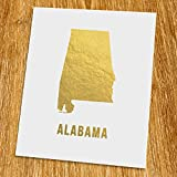 Alabama Gold Map Print (Unframed), Gold Foil Print, Gold Foil Art, 8x10