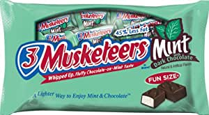 3 Musketeers Fun Size Dark Chocolate Mint Bars, 11-Ounce (Pack of 6)