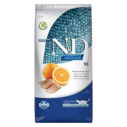 Farmina Pet Foods N&D Grain Free Ocean Herring and Orange Adult Cat Food, 5 kg (B07Z8767NY) Amazon Price History, Amazon Price Tracker