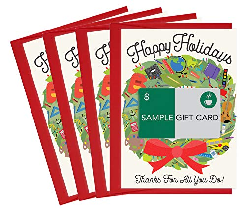 Tiny Expressions Christmas Gift Card Holders for Teachers and School Staff (4 Holiday Gift Card Holders)