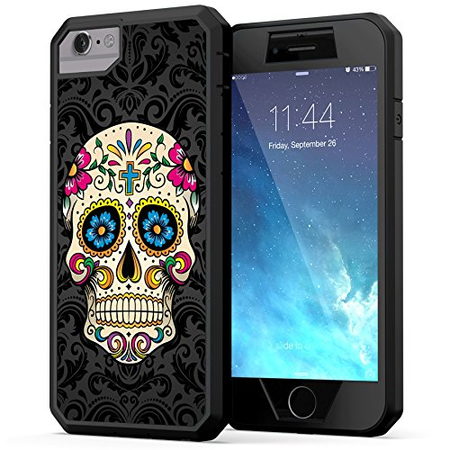 True Color Case Compatible with iPhone 6s Case, Colorful Sugar Skull on Damask [Sugar Skull Collection] Heavy Duty Hybrid + 9H Tempered Glass 360° Protection [True Armor Series] - Black ()