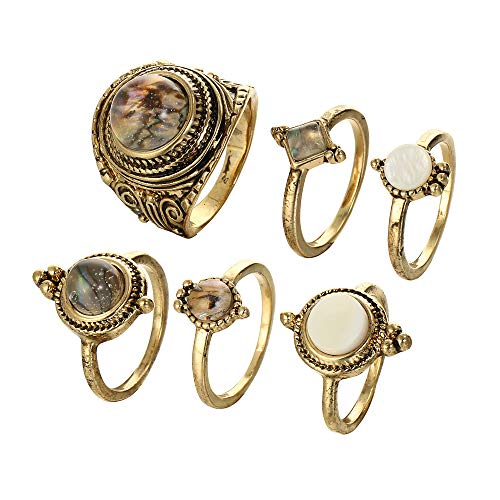 ZhaoGe 6 Pcs Vintage Bronze Water Droplets Resin Knuckle Ring Set Bohemian Retro White Rhinestone Joint Knuckle Nail Midi Ring Finger Rings Set