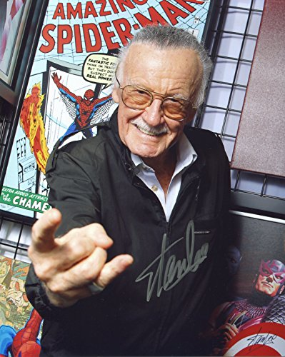Stan Lee Amazing Spiderman Signed / Autographed 8x10 Glossy Photo. Includes Fanexpo Certificate of Authenticity and Proof of signing. Entertainment Autograph Original.