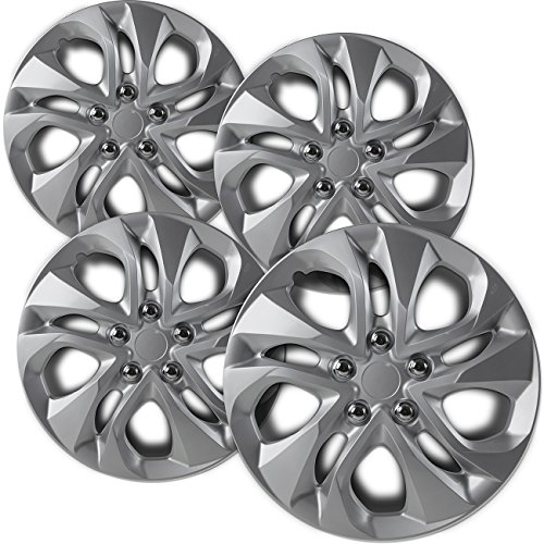 (OxGord 16 inch Hubcaps Best for - Ford Escort - (Set of 4) Wheel Covers 16in Hub Caps Silver Rim Cover - Car Accessories for 16 inch Wheels - Snap On Hubcap, Auto Tire Replacement Exterior Cap)