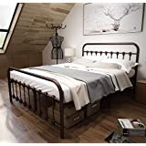 TEMMER Metal Platform Bed Frame Queen Size with Vintage Headboard and Footboard/Mattress Foundation/No Box Spring Needed,Antique Brzone Brown