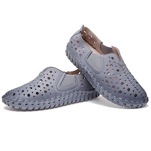 Shenn Mujer Ponerse Plano Casual Hermosa Hueco Cuero Zapatillas De Deporte Zapatos Gris