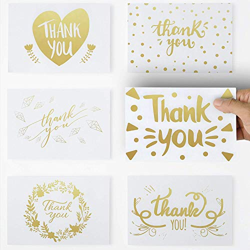 36 Unique Thank You Cards with Gold Color Text, 6 Elegant Greetings Design Thank You Note Cards 4 X 6 with self Glued Envelopes for Birthdays,Weddings,Baby Showers,Graduations,Corporate Events.