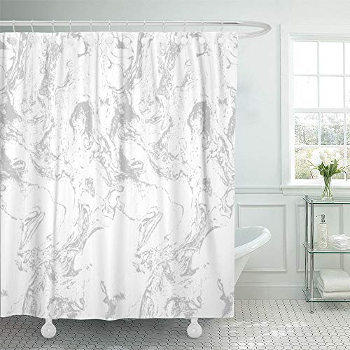Emvency Shower Curtain Waterproof Decorative Bathroom 72 x 78 inches White Old Marble Gray Stucco Liquid Wall Abstract Architecture Bright Creative Polyester Fabric Set with (Liquid Stucco)