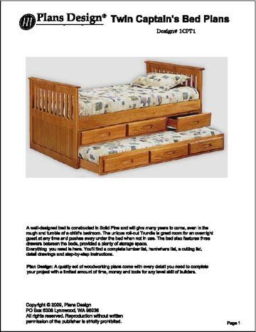 Children S Twin Bed With Trundle Drawer Woodworking Plans 1cpt1