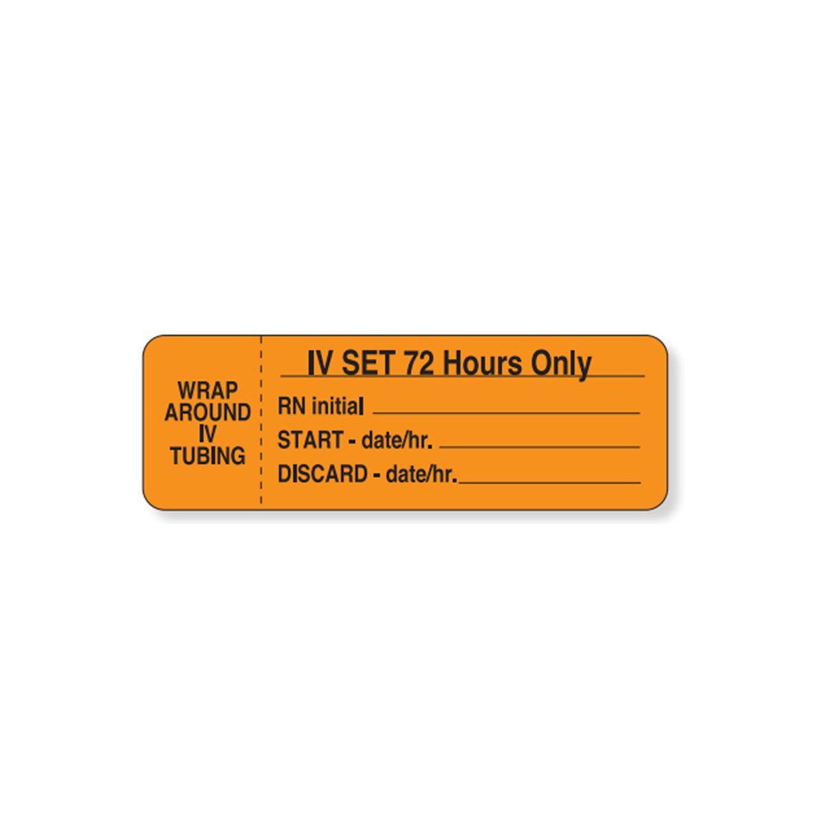 PDC Healthcare 59704478 IV Label, Wraparound Paper, Permanent Wrap, I.V. Set 72, 1'' 1/2'' Core, 3'' x 1'', Orange (Pack of 1000)