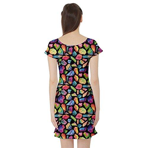 Cowcow Femmes Motif Coloré Gemme Aquarelle Robe Courte Patineuse Manches