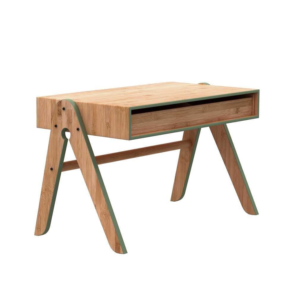 Kindertisch in Grün Bambus massiv 70 cm breit Pharao24