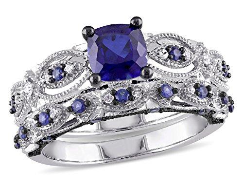 Created Blue Sapphire 2.00 Carat (ctw) with Diamond 1/10 Carat (ctw) Engagement Ring and Wedding Band Set 10K White Gold Black Rhodium Plated (2 Sets Wedding Carat Diamond)