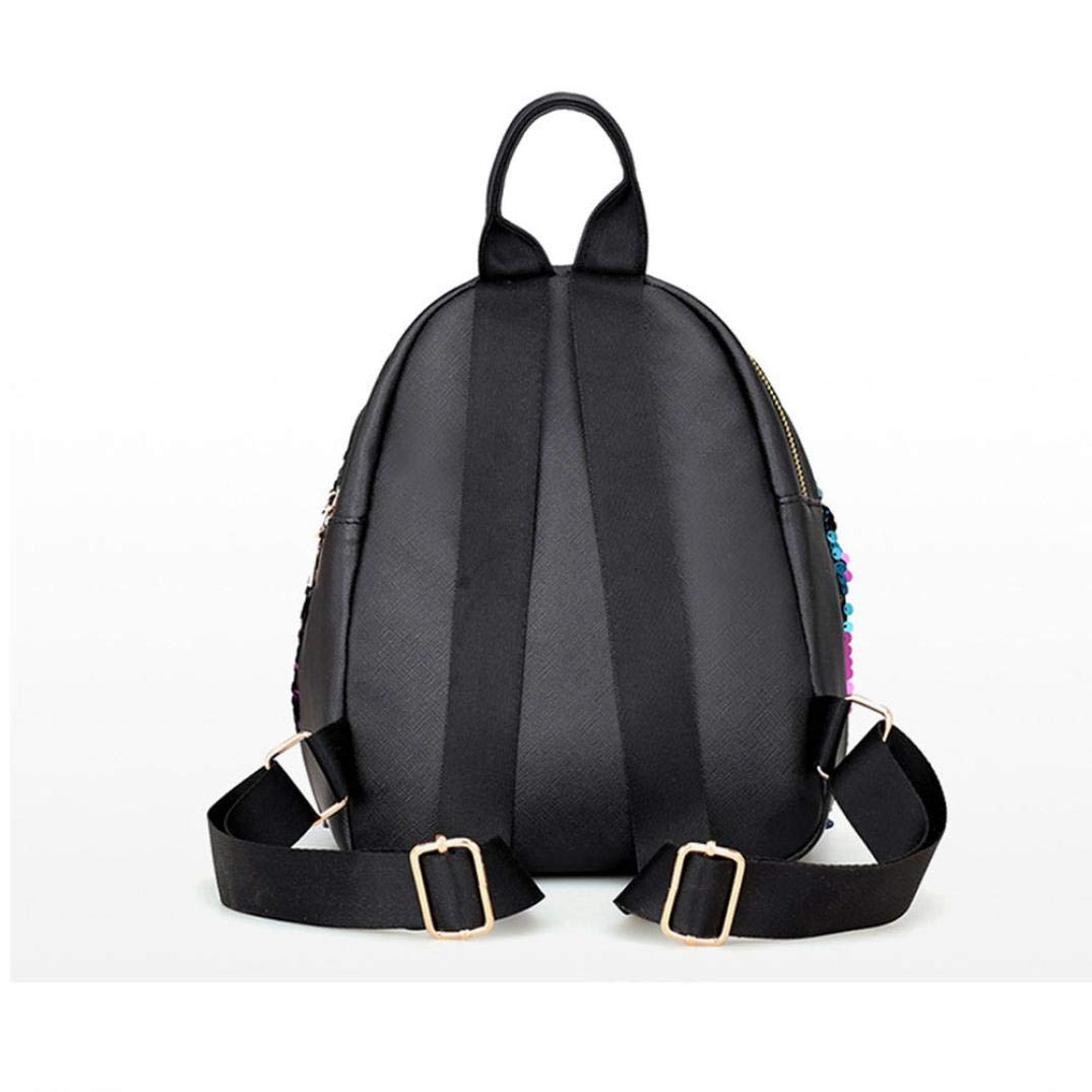 Outsta Fashion Shiny Sequins School Bags,Women Girl Backpack Travel Rucksack Shoulder Bag Purse Waterproof Classic Casual Daypack Multicolor Black